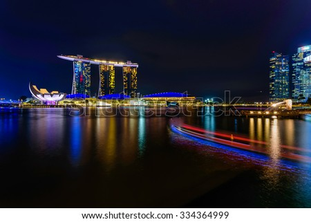 The reflection of Singapore City Skyline along Singapore River at Night