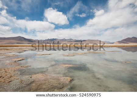 The reflection of the sky at Tso Kar lake at Lleh ladakh in the autumn, Himalayas landscape.