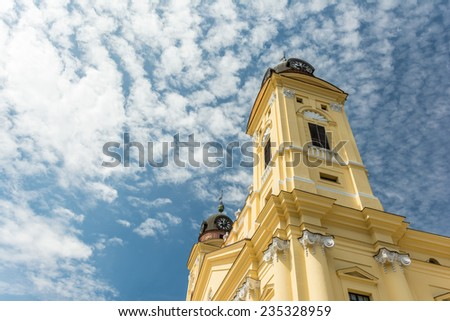 The Reformed Protestant Great Church is located downtown the city of Debrecen, Hungary between Kossuth square and Calvin square. - stock photo