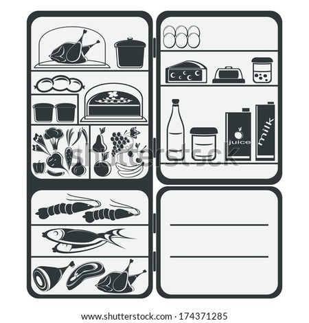 The refrigerator with food on a white background. The composition is executed in two colors. EPS version is available as ID 156442577. - stock photo