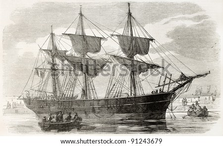 The Regina-Coeli in Saint-Nazaire port, France. Created by Gaildrau after photo of Bousseton, published on L'Illustration, Journal Universel, Paris, 1858 - stock photo