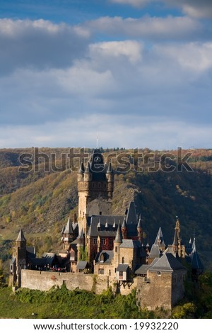 The Reichsburg castle  in Cochem on the Moselle - stock photo