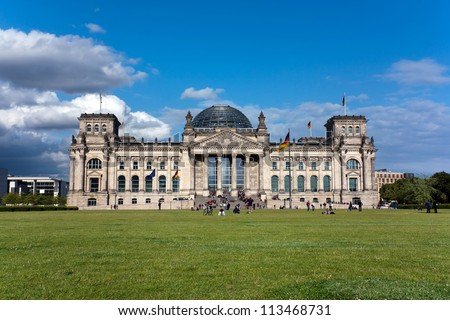 The Reichstag, Berlin . The German Parliament Building in Berlin .