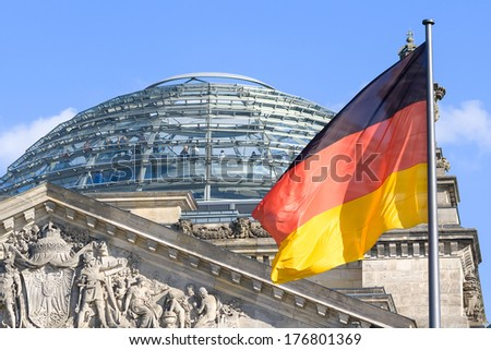 The Reichstag building, a famous historic building in Berlin. Germany.  - stock photo