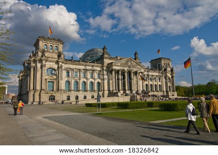 The Reichstag building in Berlin: German parliament - stock photo