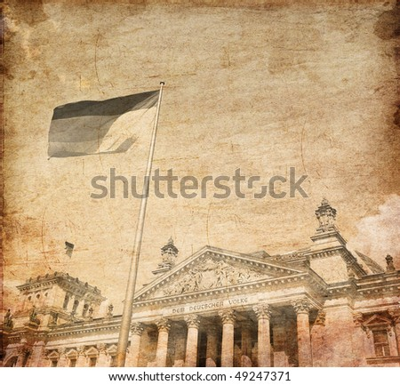 The Reichstag building in Berlin: German parliament. Photo in old image style. - stock photo