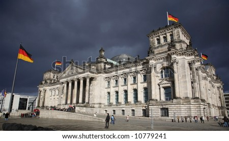 the reichstag in berlin during hurricane