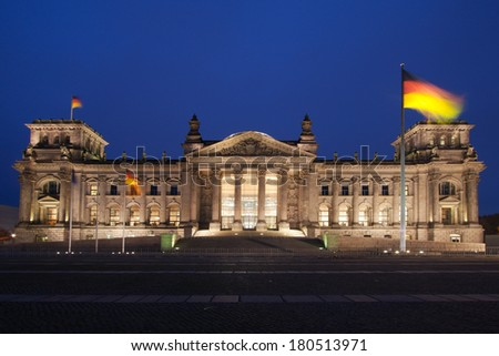 The Reichstag in Berlin, Germany, at dusk - stock photo