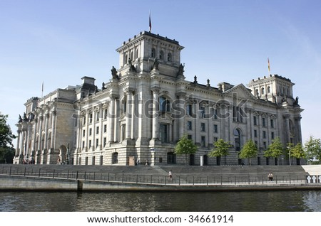 The Reichstag in Berlin: the German parliament - stock photo