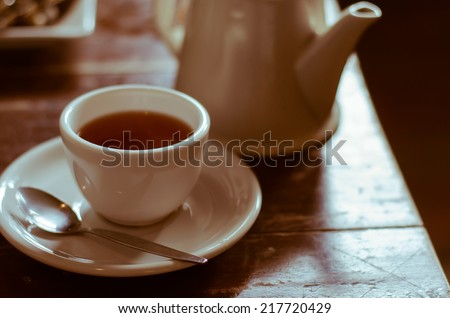 The Relaxing Time of Tea Break. - stock photo