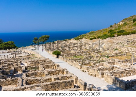 The remains of Ancient Kamiros on the Aegean coast of Rhodes, Dodecanese Greece Europe