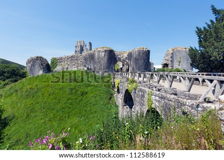 The remains of Corfe Castle in Dorset. - stock photo