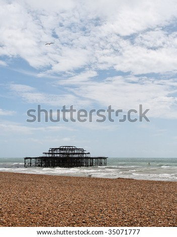 The remains of the Brighton West Pier after an arson attach in 2003