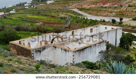 The remains of the former Franciscan monastery Conjvento de San Buenaventura in Betancuria on the Canary island Fuerteventura in Spain