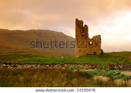 The remains of the 15th century Adrvreck Castle, on the shores of Loch Assynt, Scotland - stock photo