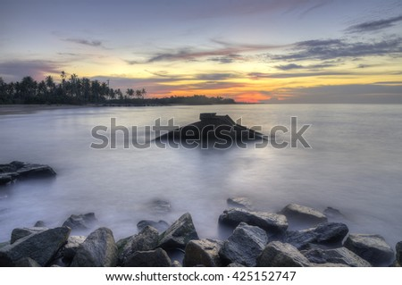 The Remnants Of Old Military Fortress From World War II At Kuala Dasar  Sabak Beach In