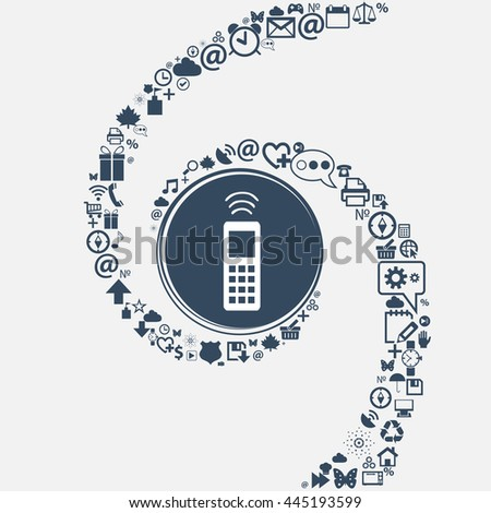 the remote control icon sign in the center. Around the many beautiful symbols twisted in a spiral. You can use each separately for your design. illustration - stock photo