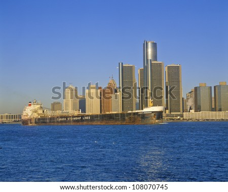 The Renaissance Center in downtown Detroit and Canadian Steamship, Michigan - stock photo
