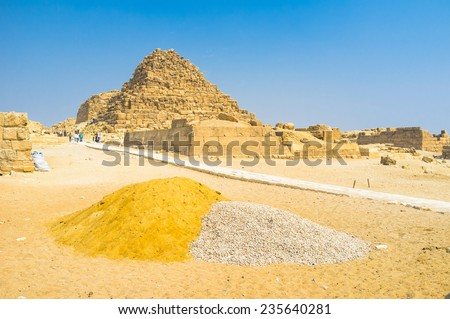 The renovations are taking place on the territory of Giza Necropolis, Egypt. - stock photo