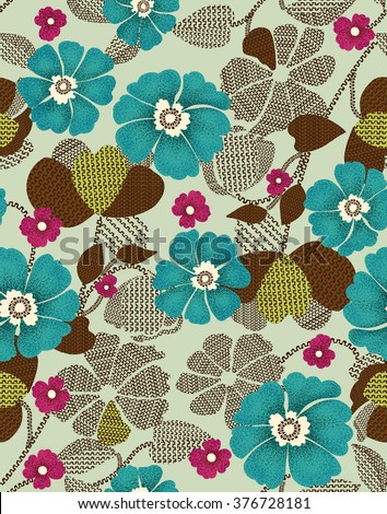 The repeat design / flower and geometric design illustration