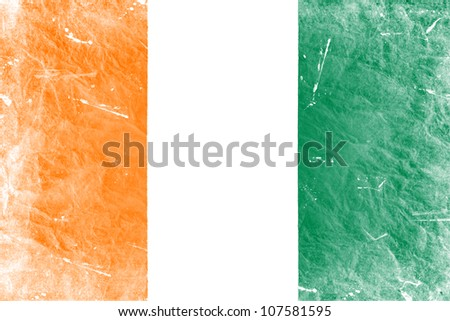 The Republic of C�´te d'Ivoire flag painted in vintage style