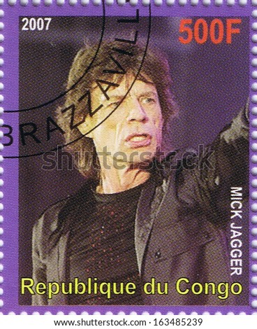 "THE REPUBLIC OF CONGO - CIRCA 2007: A postage stamp printed in the Republic of Congo showing Sir Michael Philip ""Mick"" Jagger, circa 2007 - stock photo"