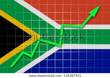 The Republic of South Africa flag and arrow graph going up - stock photo