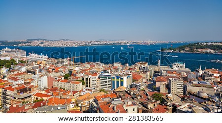 The residental houses and the crossroad of Bosphorus strait and Golden Horn in Istanbul. The view from Galata Tower, Turkey - stock photo