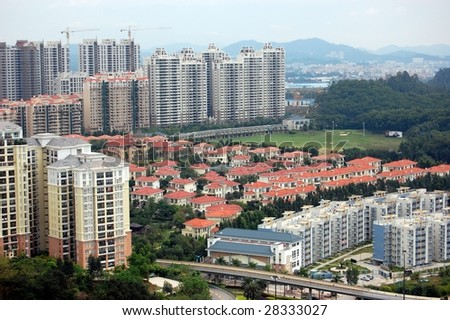 The residential apartments in Chinese city - stock photo