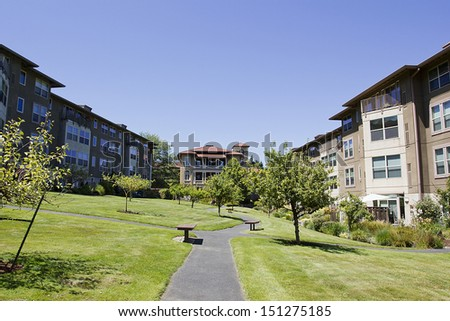 The residential complex is designed for rental. - stock photo