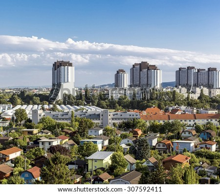 The residential complexes Alt-Erlaa. It is a city within the city of Vienna with a complete infrastructure.The complexe is one of the largest in Austria and a flagship project of the 1970s. - stock photo