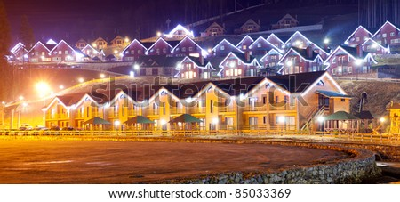 the residential house with christmas lights - stock photo
