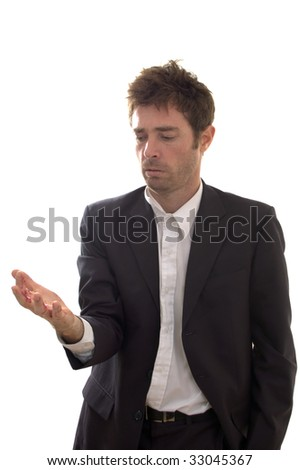 the responsible business manager with blood on his hands under stress - stock photo