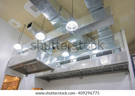 Restaurant Kitchen Ventilation restaurant ventilation system airflow fan ventilate stock photo