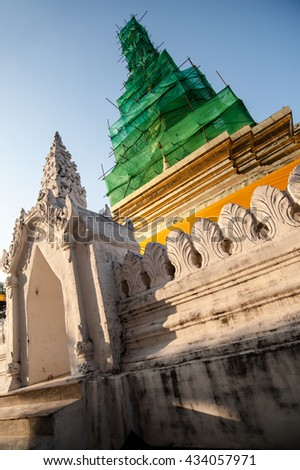 The restoration repairs Phra That Chae Haeng, Nan province, Thailand