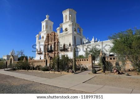 The restored San Xavier del Bac Mission near Tucson, Arizona - stock photo