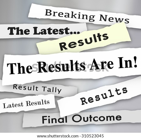 The Results are In words in newspaper headlines to illustrate voting or election survey or poll results reported by news outlets - stock photo