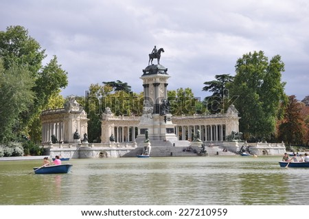 "The Retiro Park in Madrid. The photo was taken in the Park ""Retiro"" October 3, 2013. Madrid, Spain."