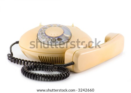 the retro design telephone isolated on white background - stock photo
