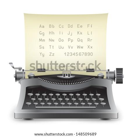 The retro desktop black typewriter with alphabet on the white background - stock photo