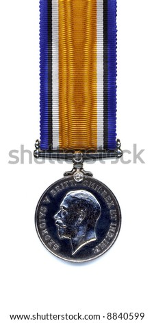 The reverse of a British 1914 - 18 War Medal suspended from a pure silk ribbon. Members of the British and Commonwealth Armed Forces were awarded the medal in silver. - stock photo