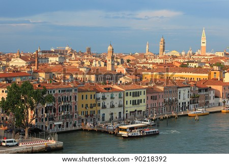 The review from above on sunset. Venice cityscape, Italy