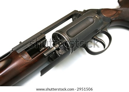 The revolving hunting weapon on a white background - stock photo