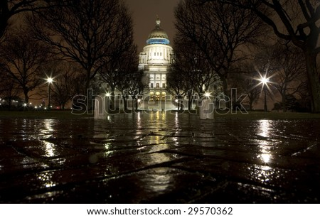 The Rhode Island State Capitol on a rainy night - stock photo