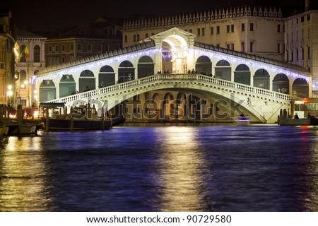 The Rialto Bridge at Night, Venice. Italy - stock photo