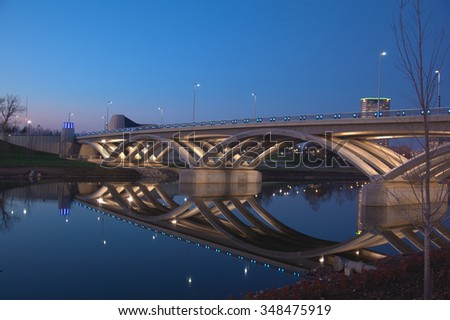 The Rich Street Bridge in Columbus, Ohio was completed in 2012 - stock photo