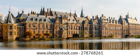 The Ridderzaal in Binnenhof with the Hofvijver lake. Meeting place of States General of the Netherlands, the Ministry of General Affairs and the office of the Prime Minister of Netherlands - stock photo