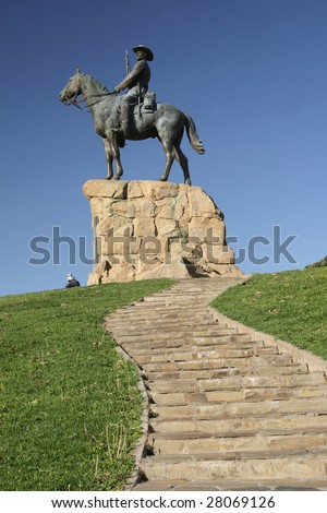 The Rider, a monument in Windhoek in remembrance of the wars in the early 20th century. - stock photo