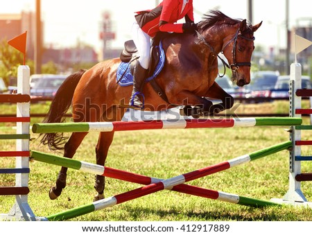 The rider on the horse jumping over obstacles - stock photo