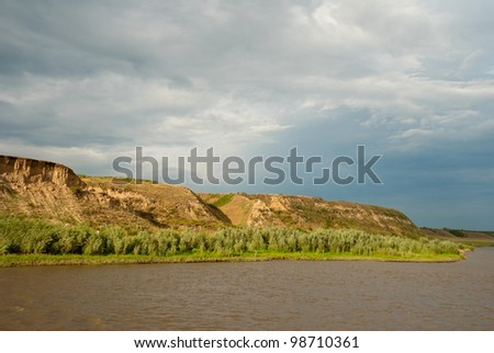 The right bank of the Irtysh River. Russia, Western Siberia - stock photo